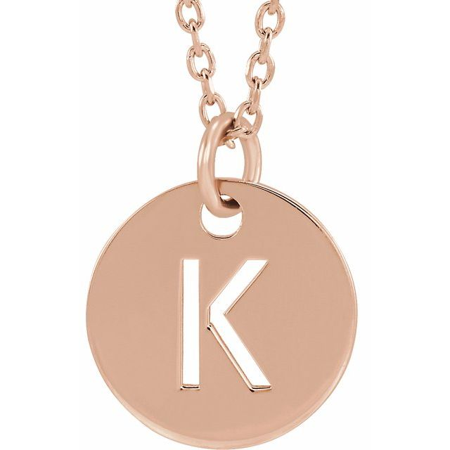 18K Rose Gold-Plated Sterling Silver Initial K 10 mm Disc 16-18