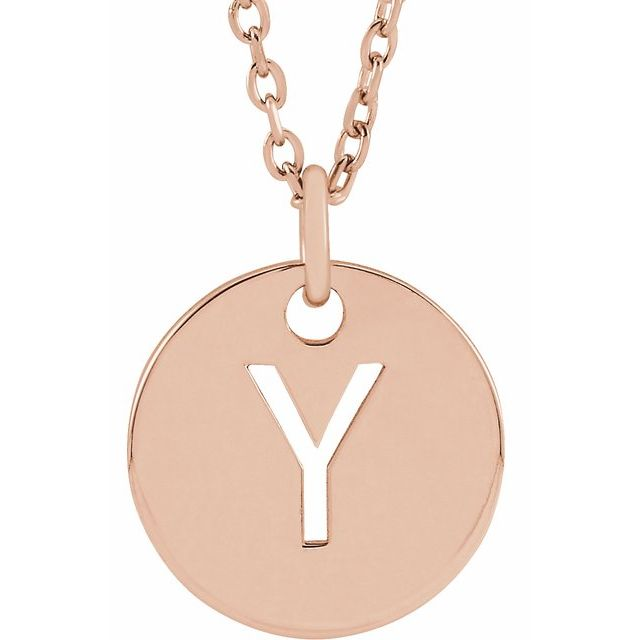 18K Rose Gold-Plated Sterling Silver Initial Y 10 mm Disc 16-18