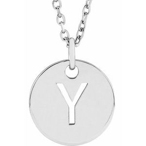 """Sterling Silver Initial Y 10 mm Disc 16-18"""" Necklace"""