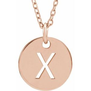 """18K Rose Gold-Plated Sterling Silver Initial X 10 mm Disc 16-18"""" Necklace"""