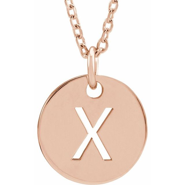 18K Rose Gold-Plated Sterling Silver Initial X 10 mm Disc 16-18