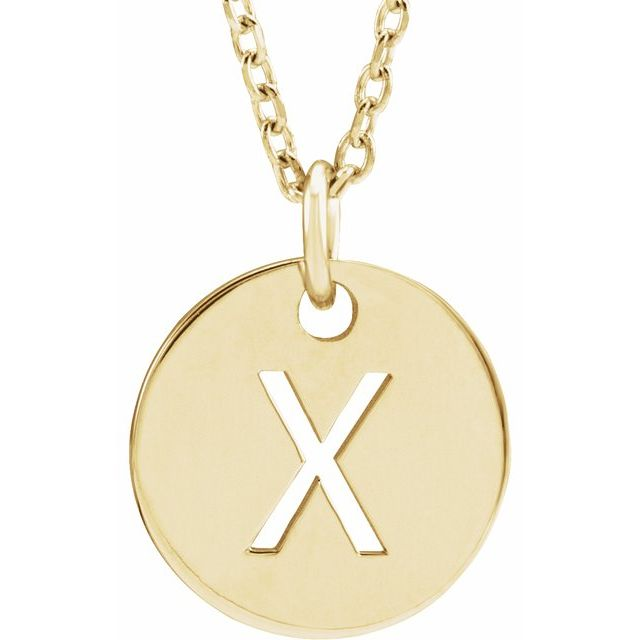 18K Yellow Gold-Plated Sterling Silver Initial X 10 mm Disc 16-18