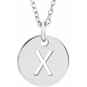 "14K White Initial X 10 mm Disc 16-18"" Necklace"