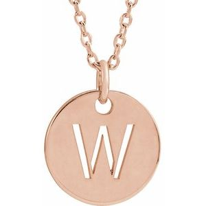 """18K Rose Gold-Plated Sterling Silver Initial W 10 mm Disc 16-18"""" Necklace"""
