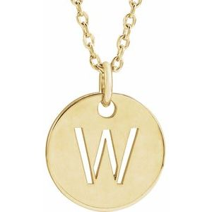 "14K Yellow Initial W 10 mm Disc 16-18"" Necklace"