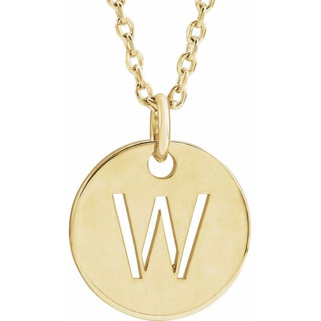18K Yellow Gold-Plated Sterling Silver Initial W 10 mm Disc 16-18