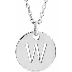 "14K White Initial W 10 mm Disc 16-18"" Necklace"