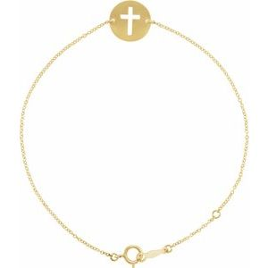 "14K Yellow Pierced Cross Disc 7-8"" Bracelet"