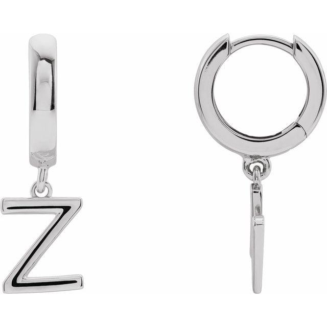 14K White Initial Z Hinged Huggie Earring