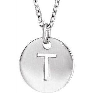 """Sterling Silver Initial T 10 mm Disc 16-18"""" Necklace"""