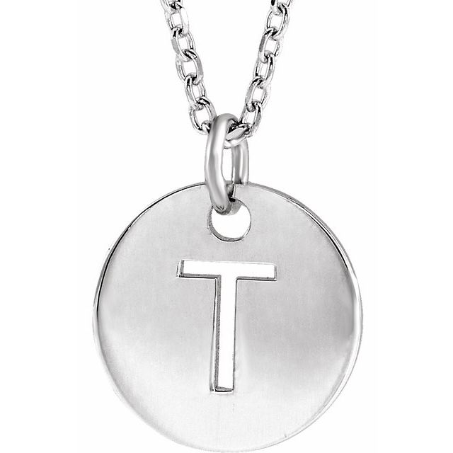 Sterling Silver Initial T 10 mm Disc 16-18