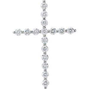 14K White 1 3/8 CTW Diamond Cross Pendant