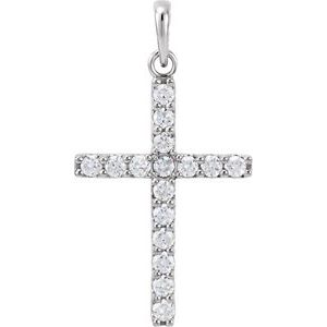 14K White 1/2 CTW Diamond Cross Pendant