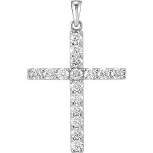14K White 1 5/8 CTW Diamond Cross Pendant