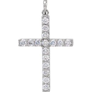 14K White 1 1/4 CTW Diamond Cross Pendant