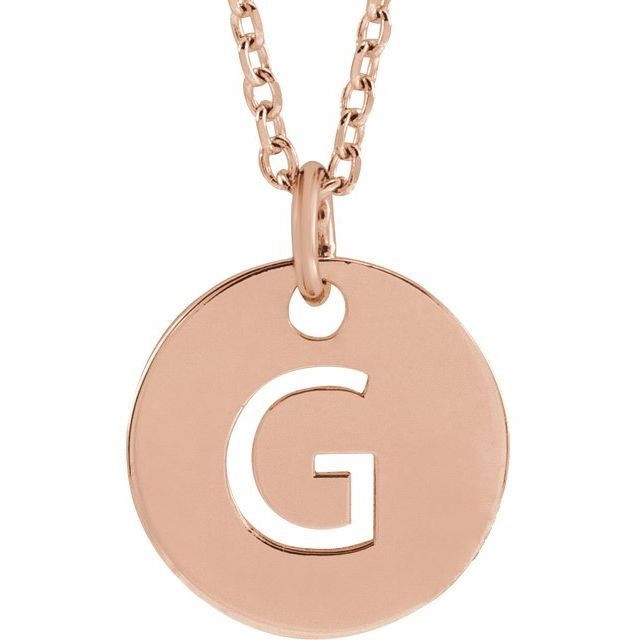 18K Rose Gold-Plated Sterling Silver Initial G 10 mm Disc 16-18