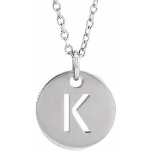 """14K White Initial K 10 mm Disc 16-18"""" Necklace"""