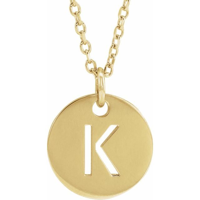 18K Yellow Gold-Plated Sterling Silver Initial K 10 mm Disc 16-18