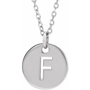 "14K White Initial F 10 mm Disc 16-18"" Necklace"