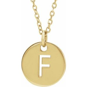 """14K Yellow Initial F 10 mm Disc 16-18"""" Necklace"""