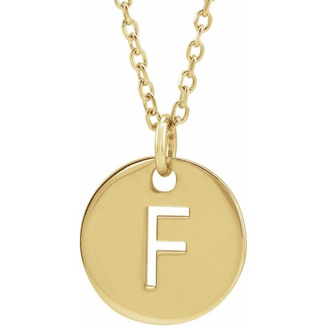 18K Yellow Gold-Plated Sterling Silver Initial F 10 mm Disc 16-18