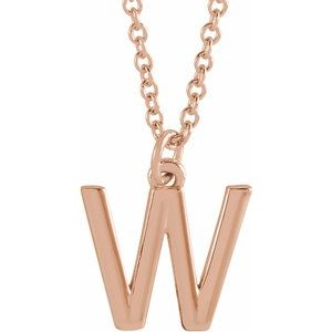 "14K Rose Initial W Dangle 18"" Necklace"