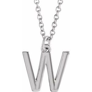 """Sterling Silver Initial W Dangle 18"""" Necklace"""