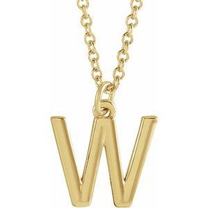 "14K Yellow Initial W Dangle 18"" Necklace"