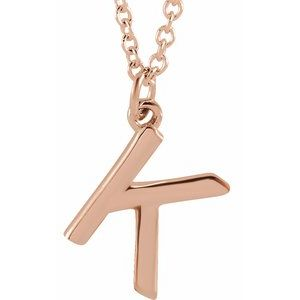 "18K Rose Gold-Plated Sterling Silver Initial K Dangle 18"" Necklace"