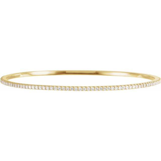 "14K Yellow 2 CTW Lab-Grown Diamond Stackable Bangle 8"" Bracelet"