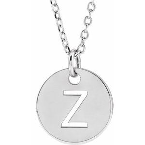 "14K White Initial Z 10 mm Disc 16-18"" Necklace"