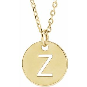 """14K Yellow Initial Z 10 mm Disc 16-18"""" Necklace"""