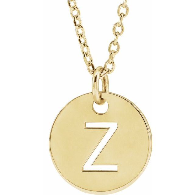 18K Yellow Gold-Plated Sterling Silver Initial Z 10 mm Disc 16-18