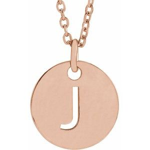 """18K Rose Gold-Plated Sterling Silver Initial J 10 mm Disc 16-18"""" Necklace"""