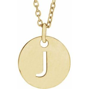 """18K Yellow Gold-Plated Sterling Silver Initial J 10 mm Disc 16-18"""" Necklace"""