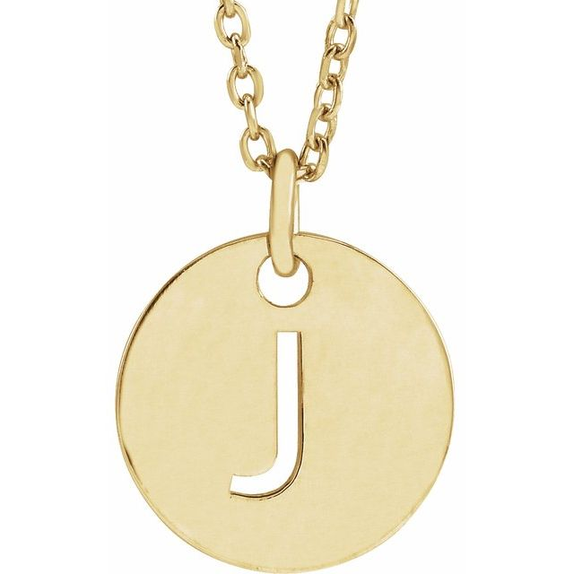 18K Yellow Gold-Plated Sterling Silver Initial J 10 mm Disc 16-18