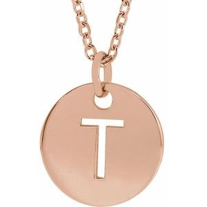 """18K Rose Gold-Plated Sterling Silver Initial T 10 mm Disc 16-18"""" Necklace"""