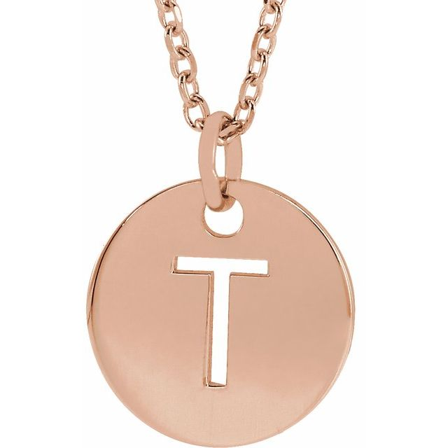 18K Rose Gold-Plated Sterling Silver Initial T 10 mm Disc 16-18