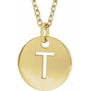 """18K Yellow Gold-Plated Sterling Silver Initial T 10 mm Disc 16-18"""" Necklace"""