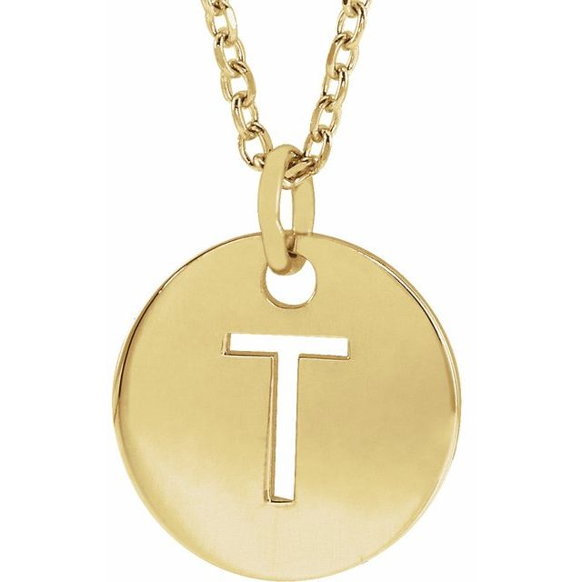 18K Yellow Gold-Plated Sterling Silver Initial T 10 mm Disc 16-18