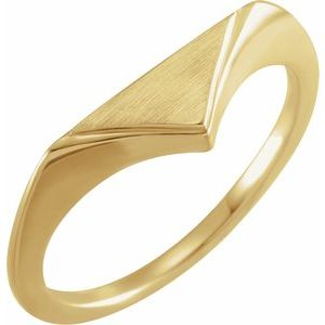 14K Yellow 11.5x6 mm Geometric Signet Ring