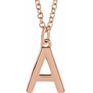 "14K Rose Initial A Dangle 16"" Necklace"