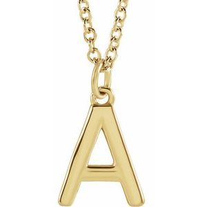 "14K Yellow Initial A Dangle 18"" Necklace"