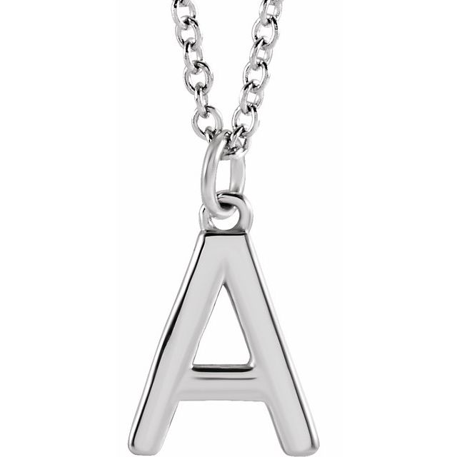 """14K White Initial A Dangle 16"""" Necklace"""