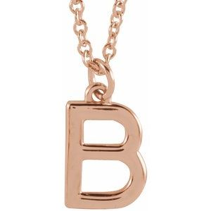 """18K Rose Gold-Plated Sterling Silver Initial B Dangle 18"""" Necklace"""