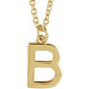 "14K Yellow Initial B Dangle 16"" Necklace"