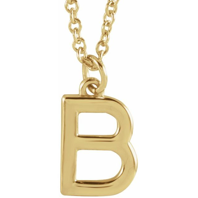 18K Yellow Gold-Plated Sterling Silver Initial B  Dangle 16