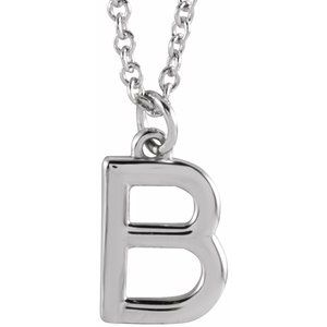 """14K White Initial B Dangle 16"""" Necklace"""