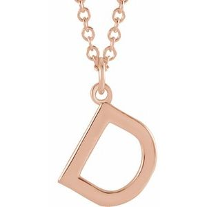 """18K Rose Gold-Plated Sterling Silver Initial D Dangle 18"""" Necklace"""