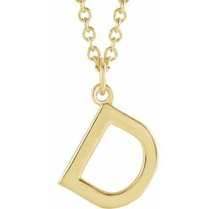 "14K Yellow Initial D Dangle 18"" Necklace"